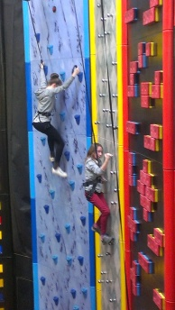 Katie and Al climbing
